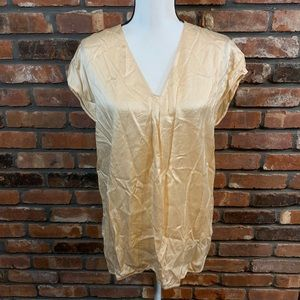 Vince Women's Peach Pleated V-neck Silk Tank Top